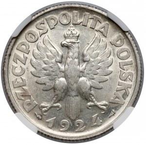 Kobieta i kłosy 2 złote 1924 Paryż - NGC AU58