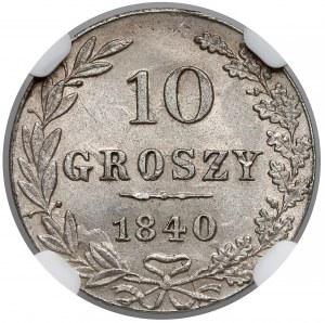 10 groszy 1840 MW, Warszawa - NGC MS64