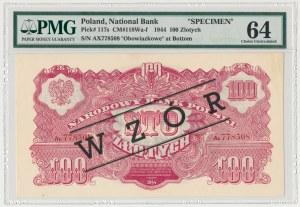 100 złotych 1944 ...owe - Ax z nadrukiem WZÓR - PMG 64