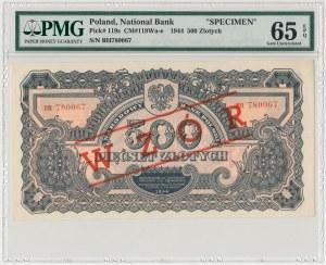 500 złotych 1944 ...owe - BH z nadrukiem WZÓR - PMG 65 EPQ