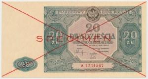 SPECIMEN 20 złotych 1946 - A