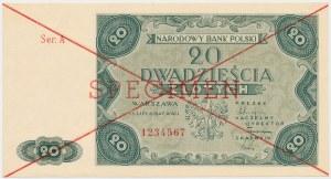 SPECIMEN 20 złotych 1947 - Ser.A