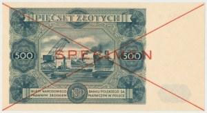 SPECIMEN 500 złotych 1947 - X - pierwsza połowa z numeracją 123456 - rzadki