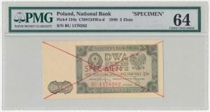 SPECIMEN 2 złote 1948 - BU - PMG 64