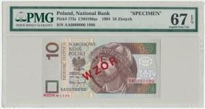 WZÓR 10 złotych 1994 - AA 0000000 - Nr 1896 - PMG 67 EPQ