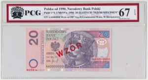 WZÓR 20 złotych 1994 - AA 0000000 - Nr 1587 - PCG 67 EPQ