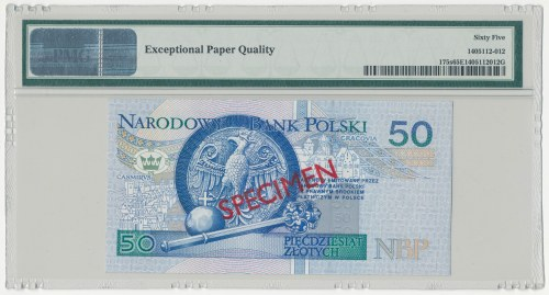 WZÓR 50 złotych 1994 - AA 0000000 - Nr 1896 - PMG 65 EPQ