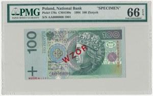 WZÓR 100 złotych 1994 - AA 0000000 - Nr 1901 - PMG 66 EPQ