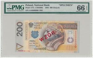 WZÓR 200 złotych 1994 - AA 0000000 - Nr 1901 - PMG 66 EPQ