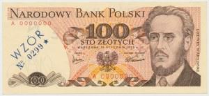 WZÓR 100 złotych 1975 - A 0000000 - No.0299