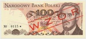 WZÓR 100 złotych 1982 - HG 0000000 - No.0115