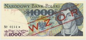WZÓR 1.000 złotych 1982 - DC 0000000 - No.0114