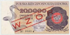 WZÓR 200.000 złotych 1989 - A 0000000 - No.0801