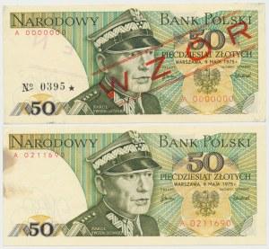 50 złotych 1975 - A - wzór i obiegowy (2szt)