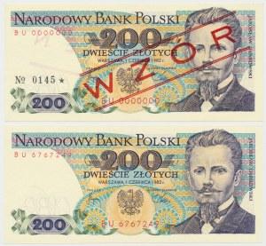 200 złotych 1982 - BU - wzór i obiegowy (2szt)
