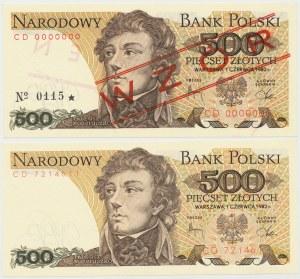 500 złotych 1982 - CD - wzór i obiegowy (2szt)