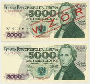 5.000 złotych 1982 - A - wzór i obiegowy (2szt)