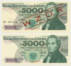 5.000 złotych 1986 - AY - wzór i obiegowy (2szt)