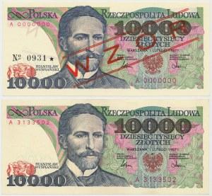 10.000 złotych 1987 - A - wzór i obiegowy (2szt)