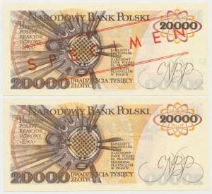 20.000 złotych 1989 - A - wzór i obiegowy (2szt)