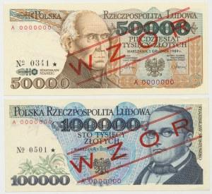 WZÓR 50.000 i 100.000 złotych 1989-90 - A 0000000 - (2szt)