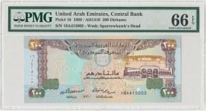 Zjednoczone Emiraty Arabskie, 200 dirhams 1989 / AH1410 - PMG 66 EPQ