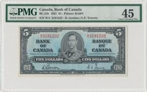 Kanada, 5 dollars 1937 - PMG 45