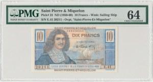 Saint Pierre & Miquelon, 10 francs (1950-60) - PMG 64