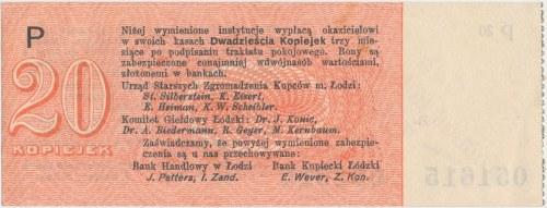 Łódź, Urząd Starszych Zg. Kupców, 20 kopiejek (1914) - wystawca stemplem - P - z grzbietem