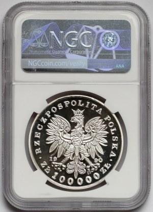 Mały Tryptyk 100.000 złotych 1990 Piłsudski - NGC PF69 UC