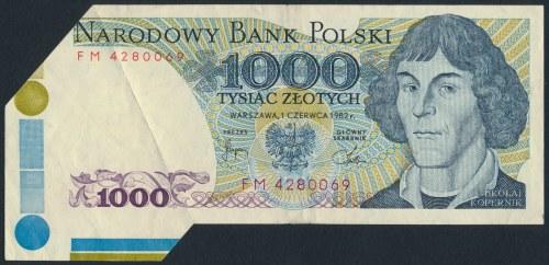 BŁĘDODRUK 1.000 złotych 1982 - zagięcie podczas cięcia