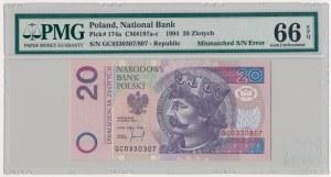 20 złotych 1994 - dwa różne numery - błąd numeratora - PMG 66 EPQ