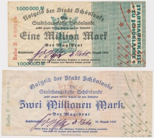 Schonlanke (Trzcianka), 1 i 2 mln mark 1923 (2szt)