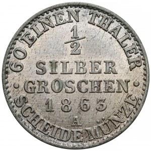 Niemcy, Prusy, Wilhelm I, 1/2 silber groschen 1863-A
