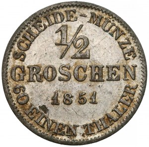Niemcy, Saksonia-Coburg-Gotha, 1/2 groschen 1851-F
