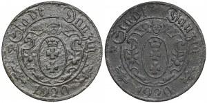Gdańsk, 10 fenigów 1920 - 56 i 57 perełek - zestaw (2szt)