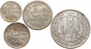 Wolne Miasto Gdańsk, 1/2 - 5 guldenów 1923, zestaw (4szt)