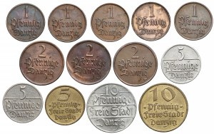 Wolne Miasto Gdańsk, 1-10 fenigów 1923-1937, zestaw (13szt)