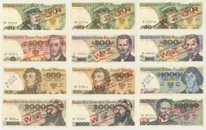 WZORY od 50 do 10.000 złotych z lat 1974-88 - zestaw (12szt)