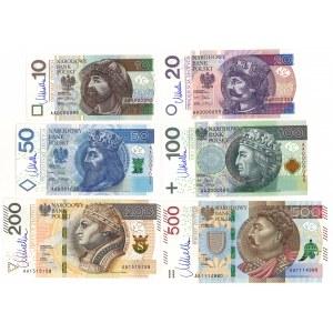 Komplet nominałowy 10-500 złotych 2012-16 seria AA z podpisem M. Belki