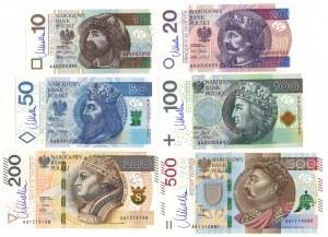 Komplet nominałowy 10-500 zł 2012-16 seria AA - niskie numery - z podpisem M. Belki