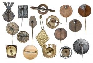II RP zestaw drobnych odznak i znaczków (17szt)