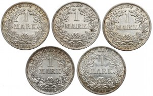 Niemcy 1 marka 1909-1914 - zestaw (5szt)
