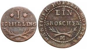 Wolne Miasto Gdańsk, Szeląg i grosz 1812-M (2szt)