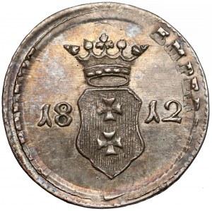 Wolne Miasto Gdańsk, Szeląg 1812-M - na monecie Napoleona - UNIKAT (R*)