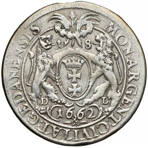 Jan II Kazimierz, Ort Gdańsk 1662 DL - lewek NIE w tarczy - rzadki
