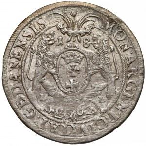 Jan II Kazimierz, Ort Gdańsk 1662 DL - lewek w tarczy - b. ładny
