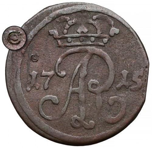 August II Mocny, Szeląg Gdańsk 1715 - ex. CZAPSKI - rzadkość