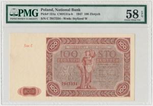 100 złotych 1947 - Ser.C - duża litera - PMG 58 EPQ