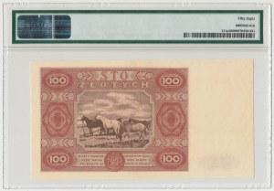100 złotych 1947 - Ser.D - duża litera - PMG 58